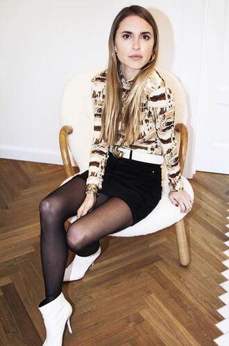 top turtleneck ankle boots pernille teisbaek blogger instagram mini skirt belt