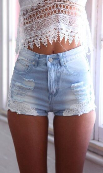 denim shorts cutoff shorts lace shorts high waisted shorts ripped shorts cross blonde hair orange shirt shorts