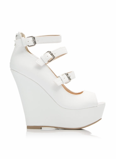 Triple-Mary-Jane-Wedges WHITE BLACK ROYALBLUE - GoJane.com