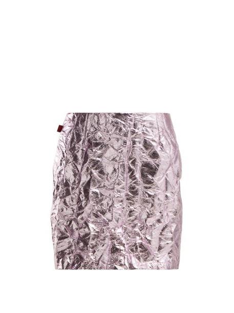 Sies Marjan - Desiree Crinkled Metallic Mini Skirt - Womens - Pink