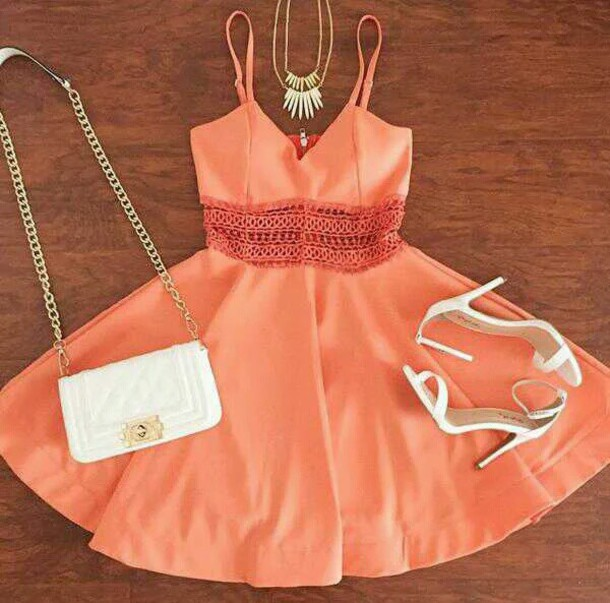 Dress coral dress jewelry heels bags and purses coral for Jewelry to wear with coral dress