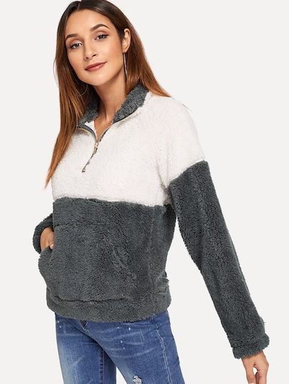 Drop Shoulder Color-Block Teddy Sweatshirt