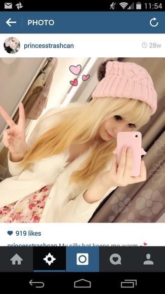 pink hat fur ball pastel pink