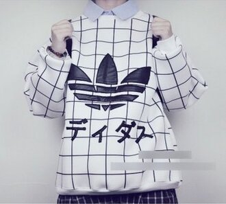 blouse adidas japanese grid pale tumblr