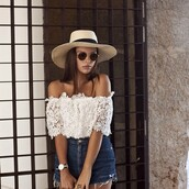 blouse,white,off the shoulder top,boho,gypsy,festival,cute,white top,shirt,shorts,hat,sunglasses,summer outfits,peasant top