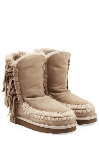 short sheepskin boots grey shoes