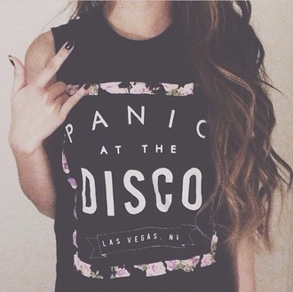 top black shoulder sleeveless panic! panic at the disco teenagers band indie rock tumblr music band t-shirt t-shirt don't writing cool cute alternative