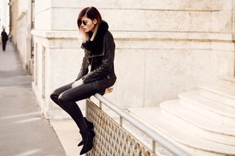bekleidet blogger jacket pants sunglasses shoes bag