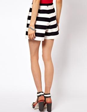 ASOS High Waisted Shorts In Bold Stripe at ASOS