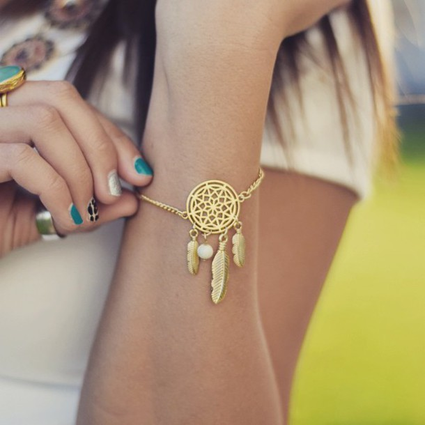Jewels Jewel Cult Coachella Jewelry Coachella Style Jewelry Awesome Dream Catcher Gold Bracelet