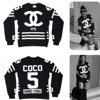 sweater black chanel coco chanel sweater