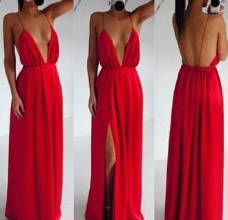 dress red dress red maxi dress cherry cleavage cleavage dress girlygirl long dress selfie