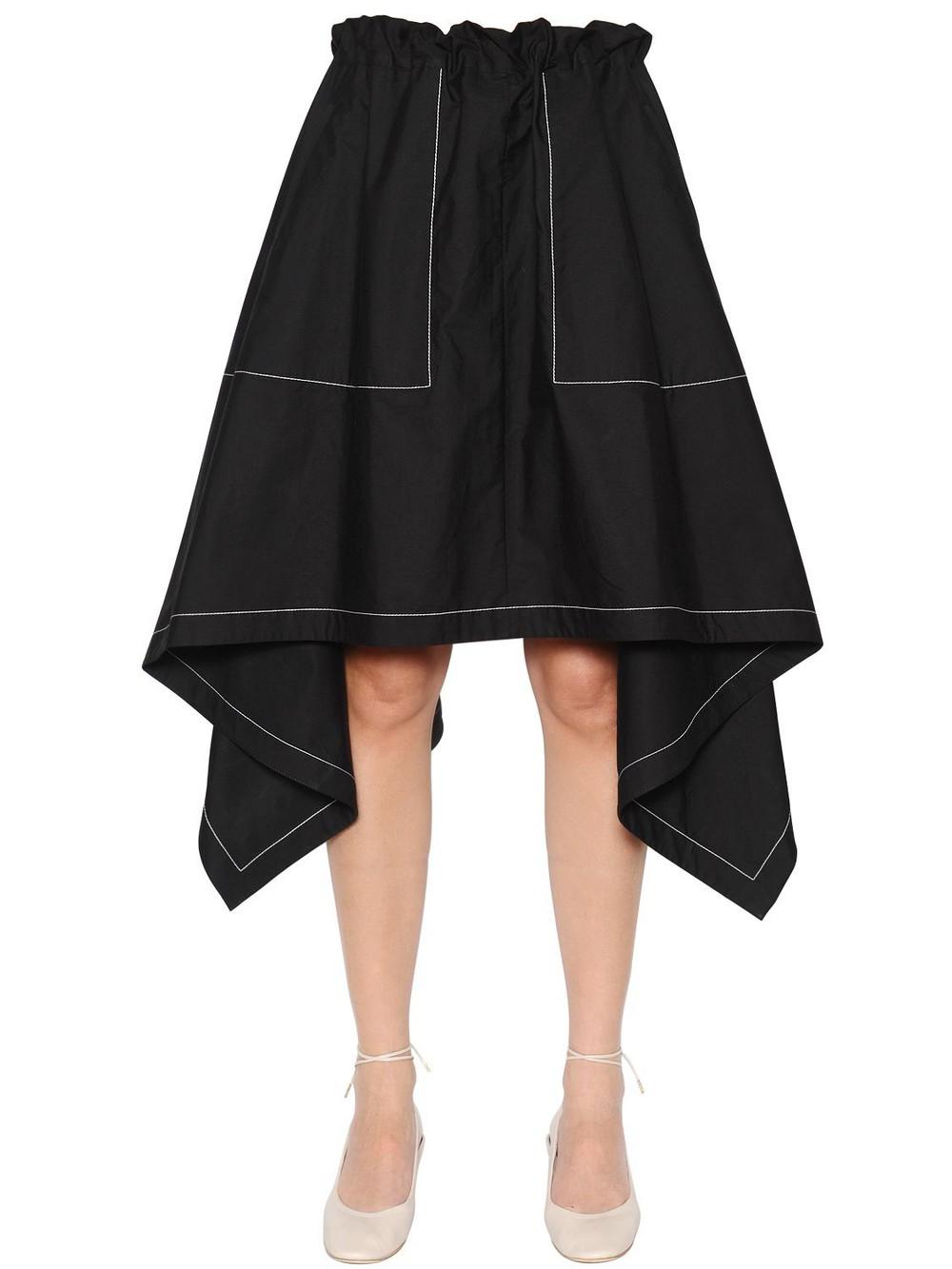 J.W.ANDERSON Asymmetric Light Cotton Poplin Skirt in black