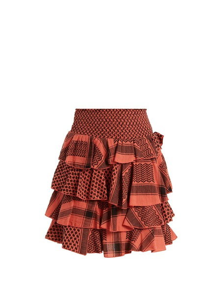 CECILIE COPENHAGEN skirt mini skirt mini ruffle jacquard cotton pink