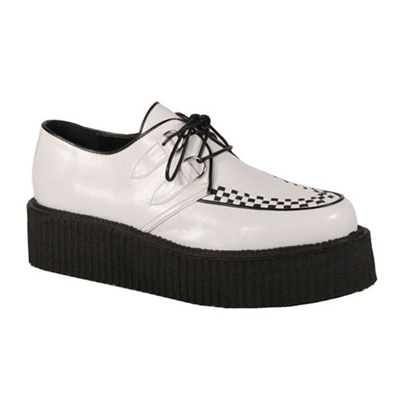 Demonia V-CREEPER-502 White Mens Creeper Shoes - Demonia Shoes