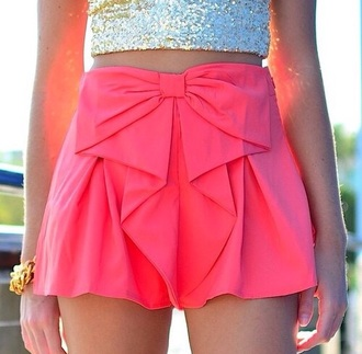shorts pink bow
