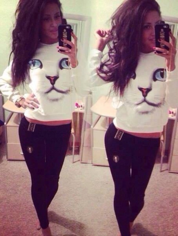 blouse white blouse jeans coat sweater 3d cat print pullover white