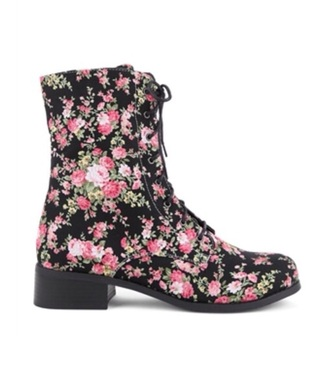 shoes combat boots roses