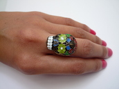 jewels,tumblr,tropical,ring,jewelry,cute,skull,skull ring,multicolored ring,dia de los muertos