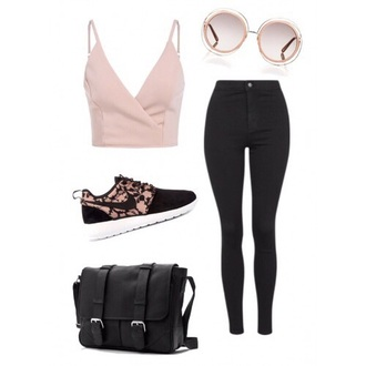 shoes nike pink pink shoes cute pretty nike shoes nike running shoes nike air outfit pink sunglasses black jeans backpack back to school pants