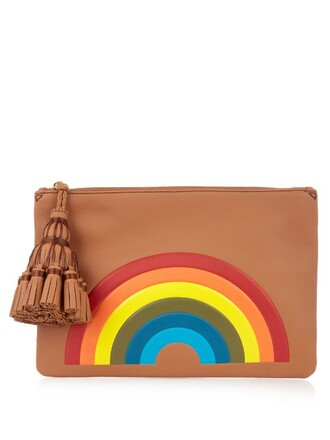 leather clutch rainbow clutch leather tan bag