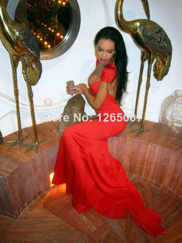Aliexpress.com : Buy Olesya Malinskaya Sweetheart Cap Sleeves Open Back Red Fitted Mermaid Slim Backless Summer Prom Dresses Sexy Red Fashion Gowns from Reliable dress clubwear suppliers on SFBridal