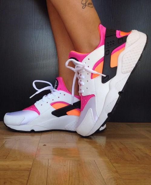 hot sale online fb7f6 45421 shoes huarache nike nike shoes pink orange black white nike sneakers