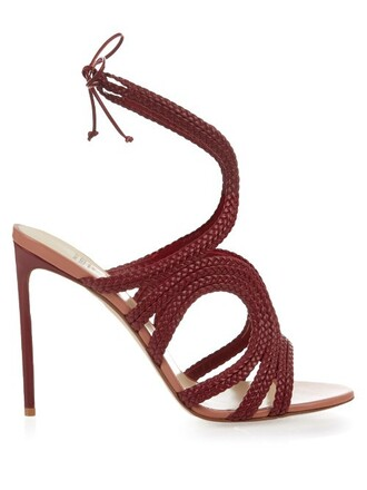 braided sandals leather sandals leather red shoes