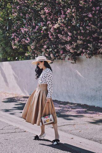 skirt flare midi skirt polka dots polka dots blouse summer hat kitten heels gucci bag blogger blogger style