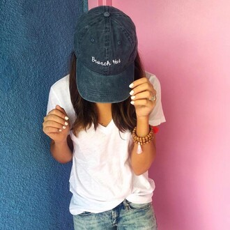 hat tumblr cap t-shirt white t-shirt nails white nails nail polish denim jeans accessories accessory black baseball hat