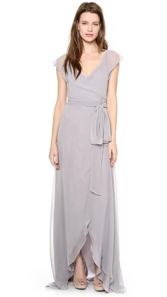 dress wrap dress ruffle silver