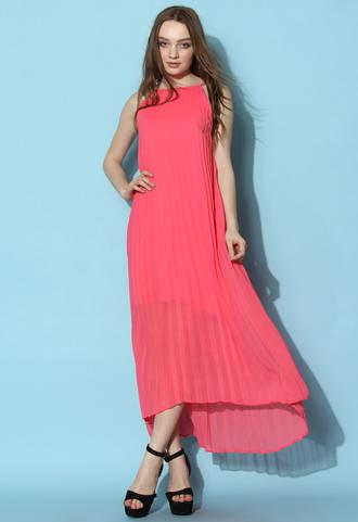 dress chicwish chiffon dress pleated maxi dress slip dress hot pink dress chicwish.com