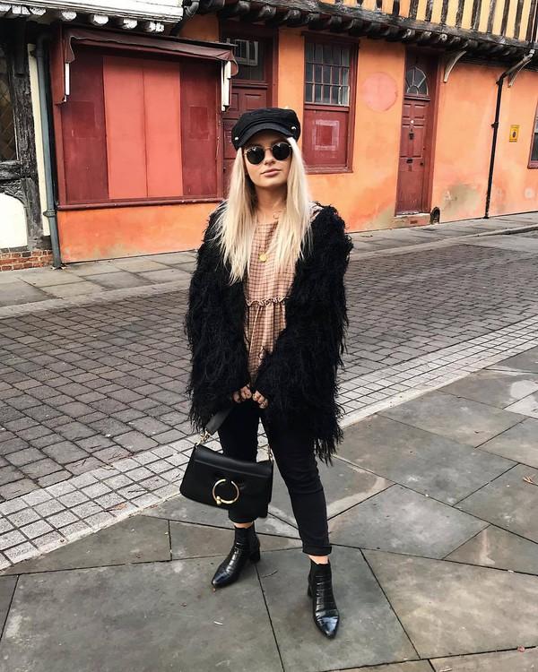 coat tumblr fringes fringed jacket denim jeans black jeans boots black boots ankle boots hat fisherman cap bag black bag