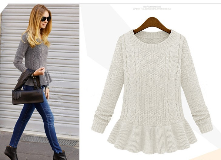 Hot selling Fashion O neck Twisted sweater vintage skirt full sleeve knitting Peplum Cardgian pullover sweater for girls-in Pullovers from Apparel & Accessories on Aliexpress.com