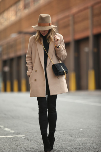 brooklyn blonde blogger hat bag camel coat winter coat winter outfits black jeans coat pants shoes