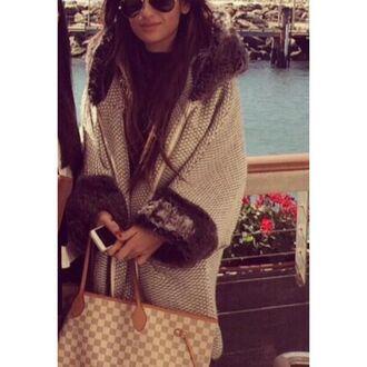 coat knitwear poncho fur coat zara