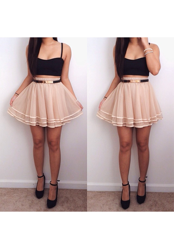 Tiered Mini Skirt - Apricot - Lookbook Store