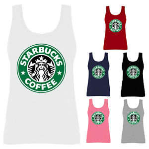 Womens Starbucks Coffee Green Logo Slogan Vest Tank Top NEW UK 8-18 | eBay
