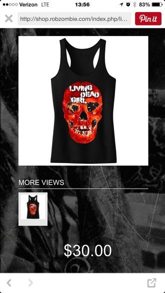 shirt rob zombie living dead girl skull tank top halloween zombie