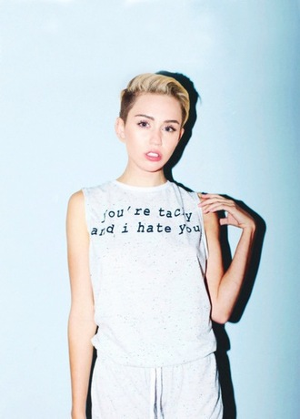 tank top sweatpants miley cyrus t-shirt white t-shirt