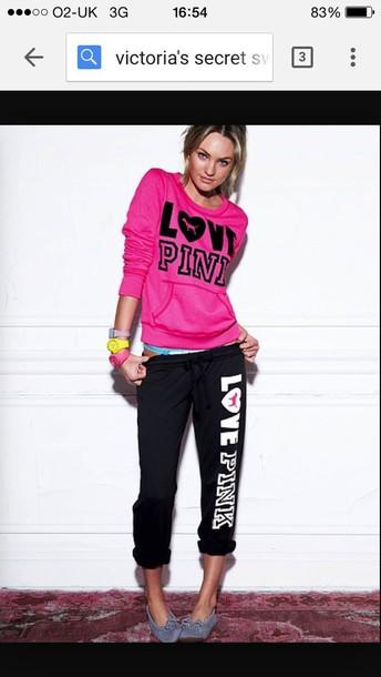 pants pink by victorias secret sweatpants comfy casual gym bunny bag