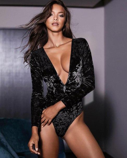 underwear lingerie bodysuit black bodysuit velvet velvet underwear velvet bodysuit model