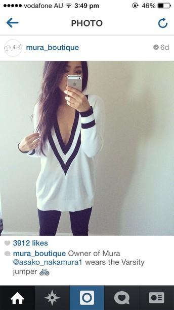 varsity sweater white black sweater