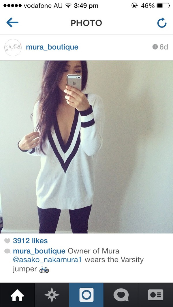 varsity sweater white black sweater