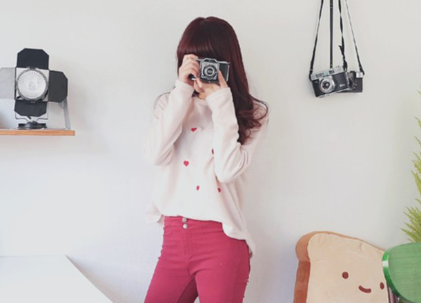 shirt cute pink red heart ulzzang ulzzang style kpop kpop kfashion korean fashion top cardigan pants lovely
