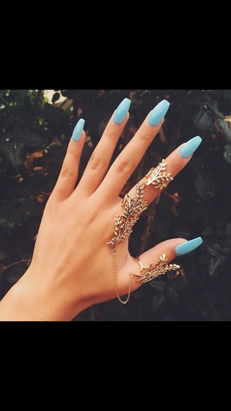 nail accessories finger bracelet jewels boho ring simple ring big rings rings cute summer jewelry ring fashion jewelry jewelry rings and tings nails fashion gold blue ring full finger full finger rings leaf ring gold ring linked ring bling knuckle ring finger rings