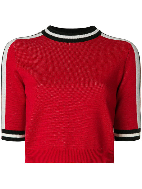 MSGM sweater knitted sweater cropped women wool red