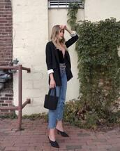 shoes,mules,jeans,handbag,v neck,top,blazer,high waisted jeans