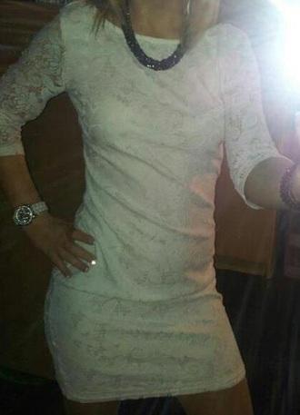 dress white dress dentelle