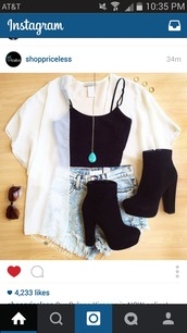 shoes,black chunky boots,velvet boots,black high heel boots,blouse,shorts,hair accessory,underwear,cardigan,sunglasses,jewels,jewelry,necklace,turquoise,turquoise jewelry,black,heels,black top,booties,black heels,outfit,white kimono,high wasted jean shorts,high heels,top,white top,white blouse,cute,summer
